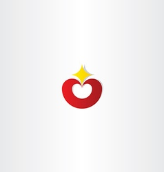 red heart with star logo icon vector image vector image