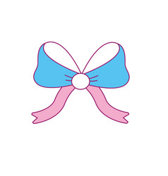 Ribbon bow to decoration gift present vector