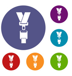 safety belt icons set vector image