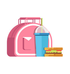 school lunch meal box breakfast snadwich and vector image vector image
