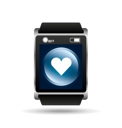 smart watch blue screen heart icon media vector image vector image