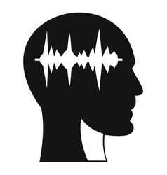 Sound wave icon in human head icon simple style vector