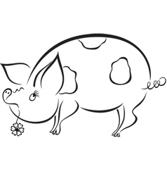 Spoony funny piggy vector image