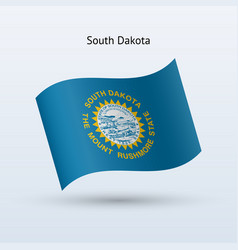 state of south dakota flag waving form vector image