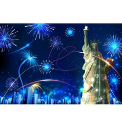 Statue of liberty on firework background vector