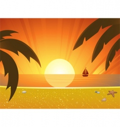 summer sunset and sail boat vector image vector image