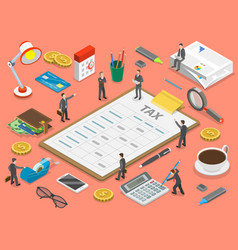 Tax payment flat isometric concept vector