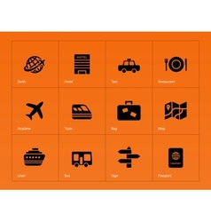 Travel icons on orange background vector