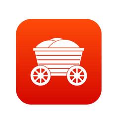 vintage wooden cart icon digital red vector image vector image