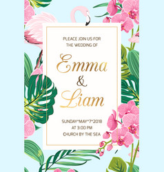 Wedding invitation tropical leaves orchid flamingo vector