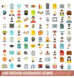 100 design guidance icons set flat style vector image vector image