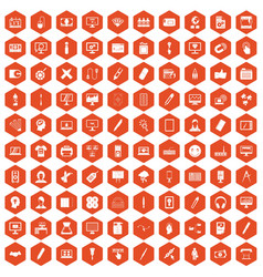100 webdesign icons hexagon orange vector