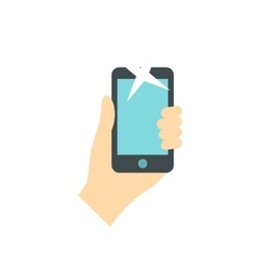 Hand holding smartphone icon flat style vector