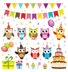 Set of birthday party elements with owls vector