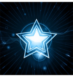 Glowing blue star vector