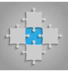 Element puzzles jigsaw - 5 pieces blue vector