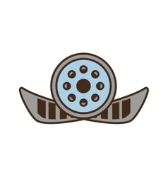 Cartoon reel film movie wheel icon vector