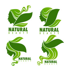 natural beauty beautiful woman face with green vector image