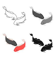 Koi icon in cartoon style isolated on white vector