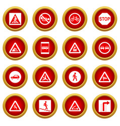 Road sign set icon red circle set vector
