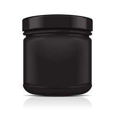 Black blank plastic jar sport nutrition whey vector