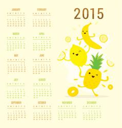 Calendar 2015 fruit cute cartoon banana pineapple vector