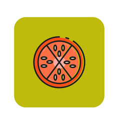 Flat color pepperoni icon vector
