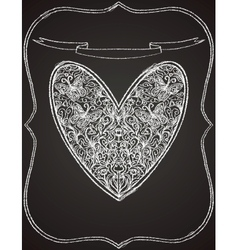 White heart shape on black chalk board vector