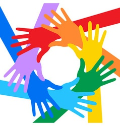 Rainbow colors hands icon for your design vector