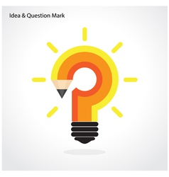 Pencil question mark and light bulb vector