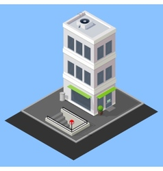 Isometric building with metro station vector
