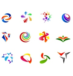 12 colorful symbols set 7 vector