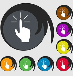 Click here hand icon sign symbols on eight colored vector