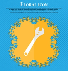 Wrench floral flat design on a blue abstract vector