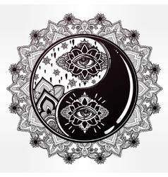 Yin and yang boho mandala symbol vector