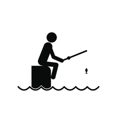 Fisherman sitting on pier with rod icon vector