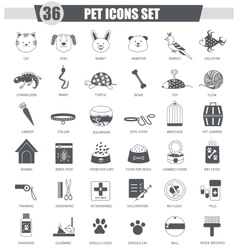 Pet animal black icon set Dark grey vector image