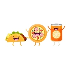 Tco pizza and soda cartoon friends vector