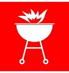 Barbecue with fire sign vector