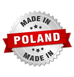 Made in poland silver badge with red ribbon vector