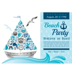 Sea summer travel banner invitation design for vector