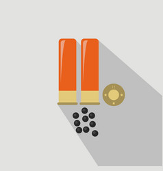 Ammo from hunting gun flat and cartoon style vector