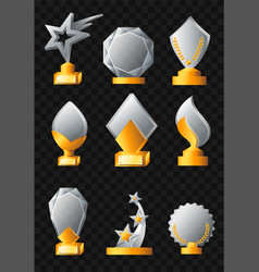 Awards - realistic set of trophies vector