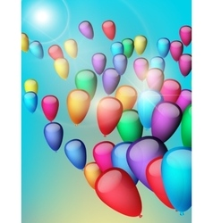 Background with colorful balloons in the sky vector