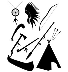 Black silhouette set icons american indians vector