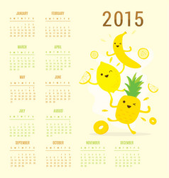 Calendar 2015 fruit cute cartoon banana pineapple vector