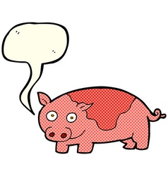 cartoon pig with speech bubble vector image vector image