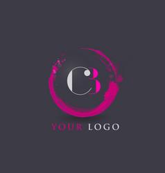 Cb letter logo circular purple splash brush vector