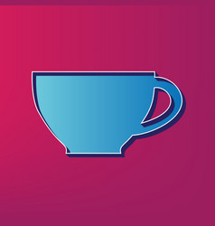 Cup sign blue 3d printed icon on magenta vector