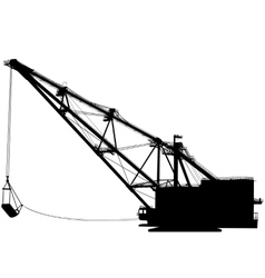Dragline walking excavator with a ladle vector image vector image